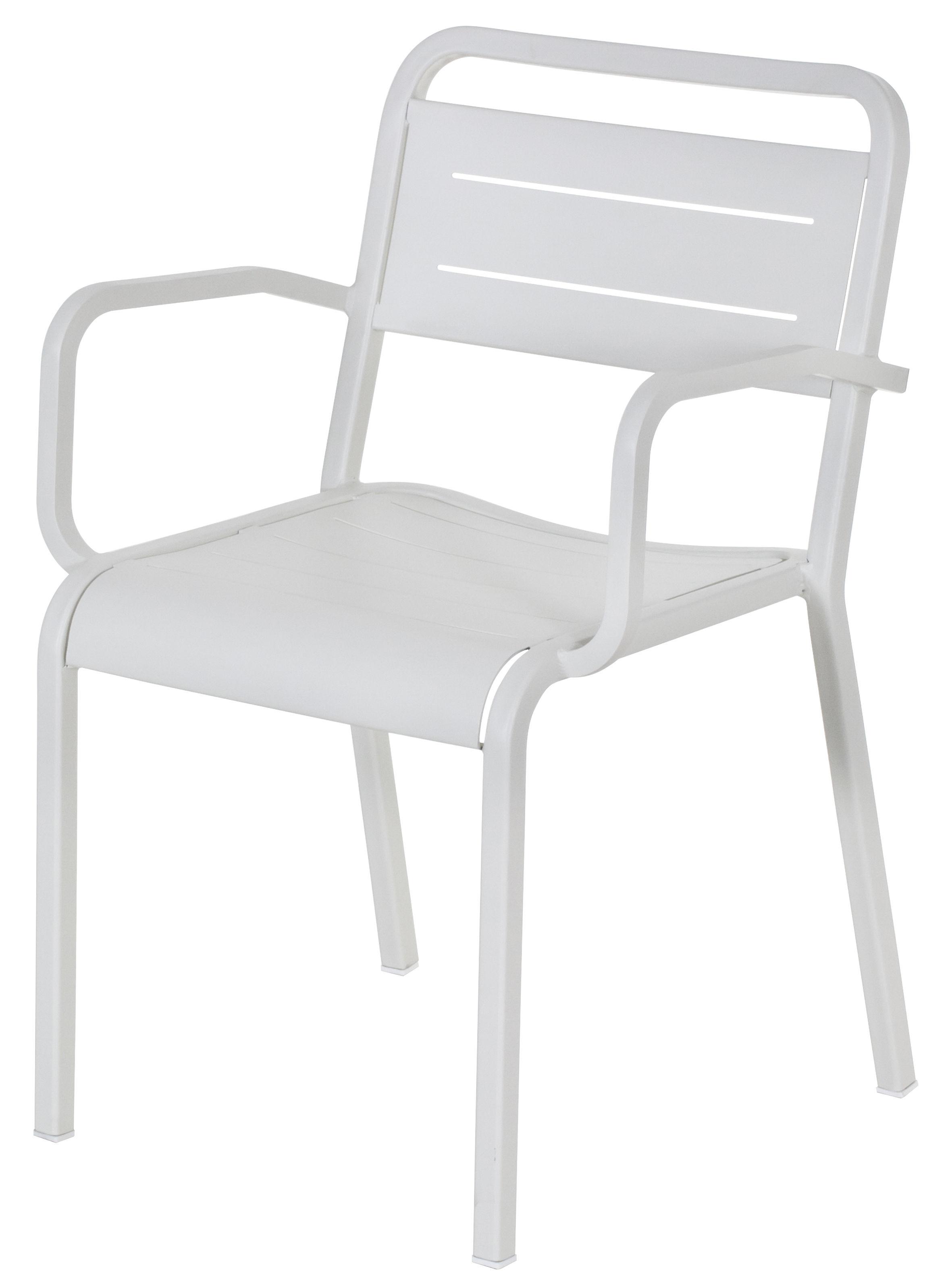 Mobilier - Chaises, fauteuils de salle à manger - Fauteuil empilable Urban / Métal - Emu - Blanc - Aluminium verni