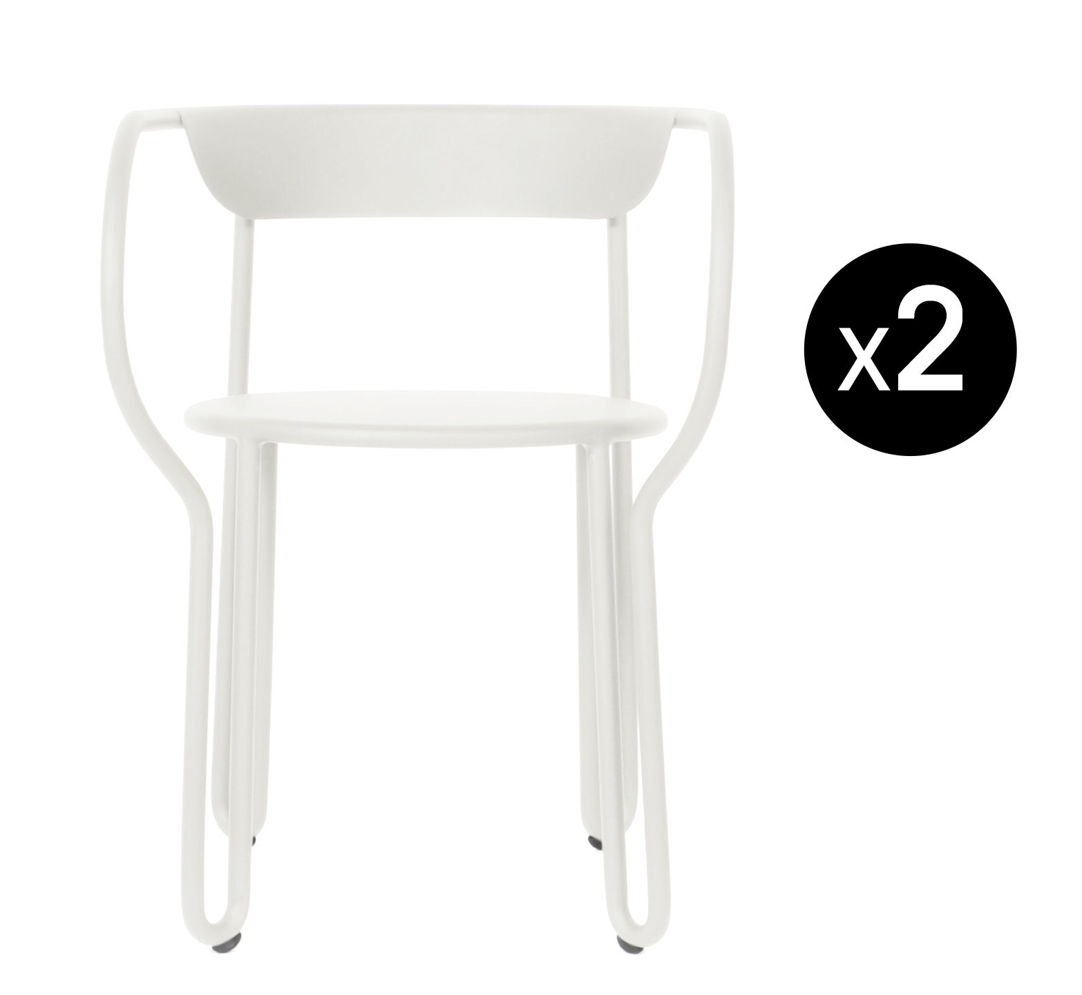 Mobilier - Chaises, fauteuils de salle à manger - Fauteuil Huggy / Lot de 2 - Aluminium - Maiori - Blanc - Aluminium peint