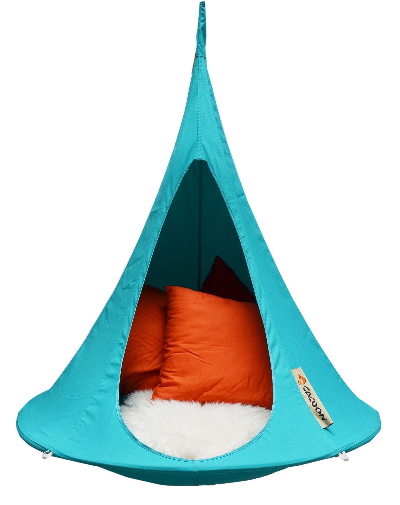 Möbel - Möbel für Kinder - Bebo Hängesessel / Ø 120 cm - Kindergröße - Cacoon - Türkisblau - Leinen