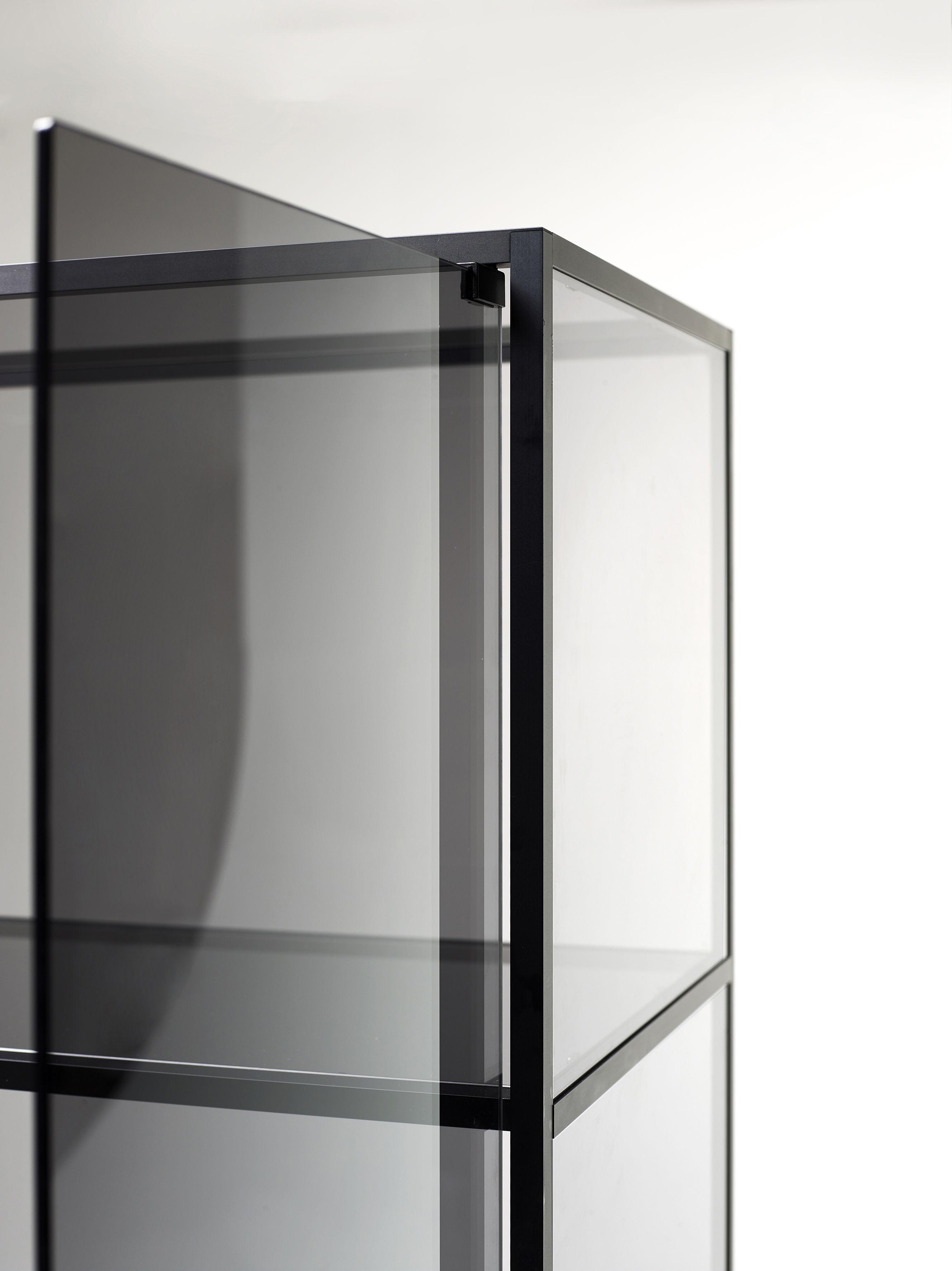 Meuble de rangement yang vitrine h 180 cm noir verre fum opinion ciatti made in design - Meuble rangement verre ...