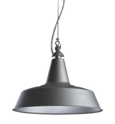 Lighting - Pendant Lighting - Huna Pendant by Fontana Arte - Matt Aluminium / White inside - Metal, Steel