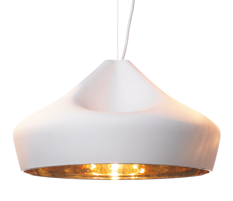 Lighting - Pendant Lighting - Pleat Box 47 Pendant - Ø 44 x H 26 cm - Ceramic by Marset - White / Gold inside - Ceramic