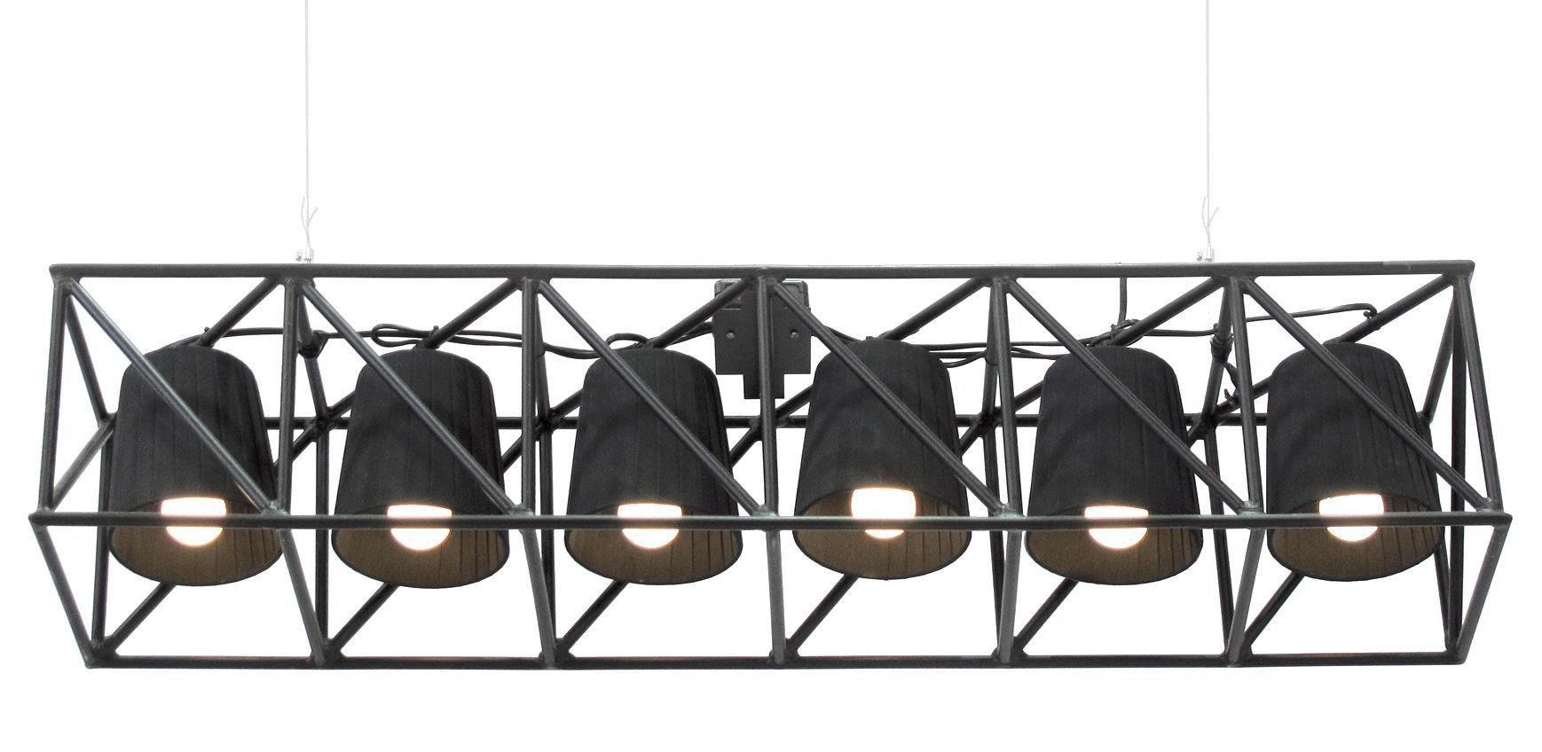Leuchten - Pendelleuchten - Multilamp Pendelleuchte / L 103 cm - Seletti - Schwarz - Gewebe, Metall