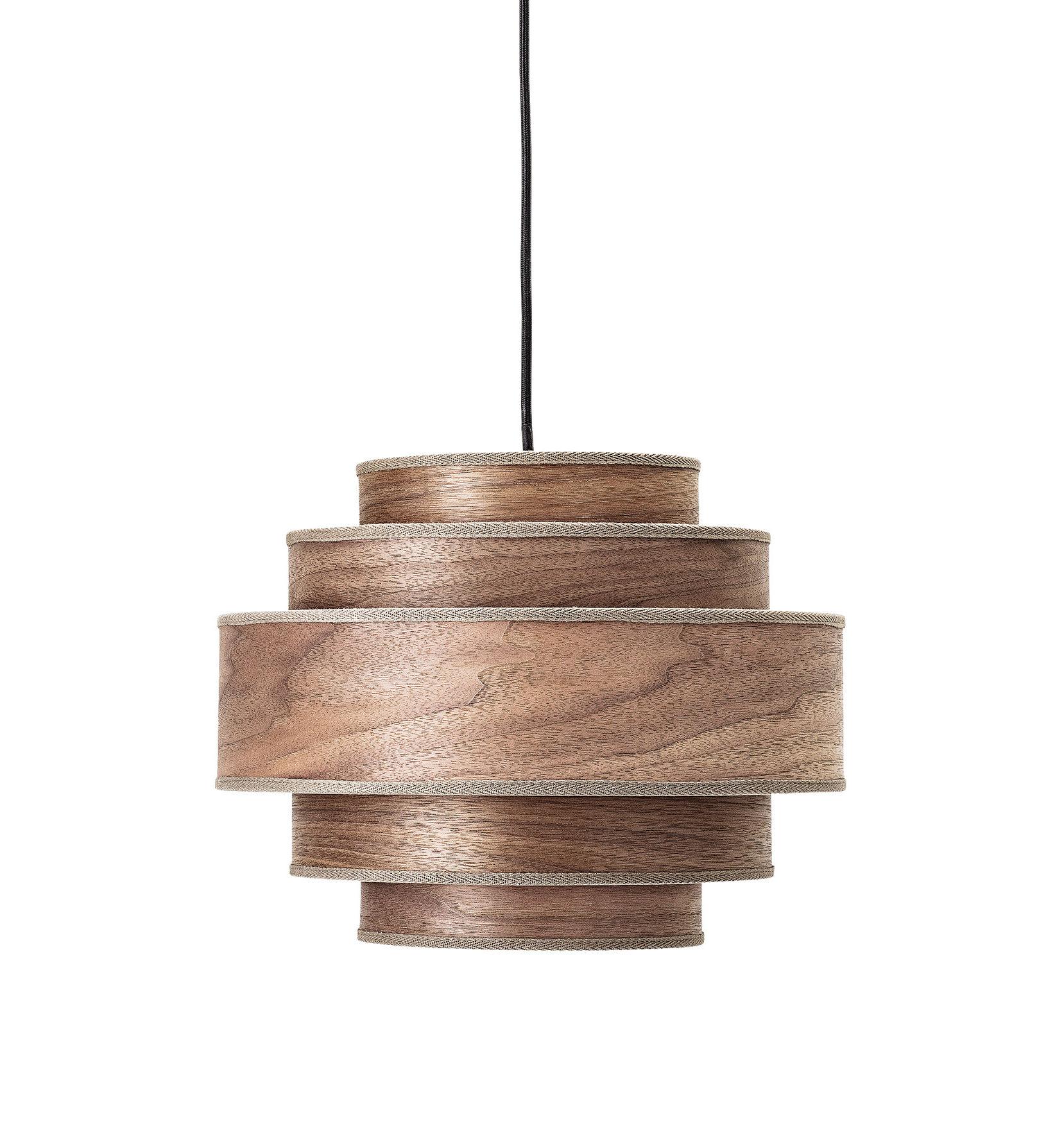 Leuchten - Pendelleuchten - Pendelleuchte / Nussbaum - Ø 35 cm x H 28 cm - Bloomingville - Nussbaum, dunkel - Nussbaum