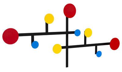 Mobilier - Portemanteaux, patères & portants - Portemanteau mural Piet / Métal - 9 patères / Modulable - Presse citron - Rouge, jaune, Bleu / Structure noire - Acier laqué