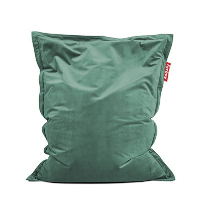 Furniture - Poufs & Floor Cushions - Original Slim Velvet Pouf - / Recycled velours - 155 x 120 cm by Fatboy - Sage green -  Micro-billes EPS, Velours polyester recyclé