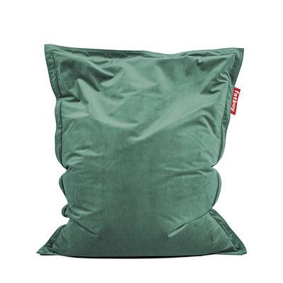 Möbel - Sitzkissen - Original Slim Velvet Sitzkissen / Recycling-Velours - 155 x 120 cm - Fatboy - Salbeigrün -  Micro-billes EPS, Velours polyester recyclé