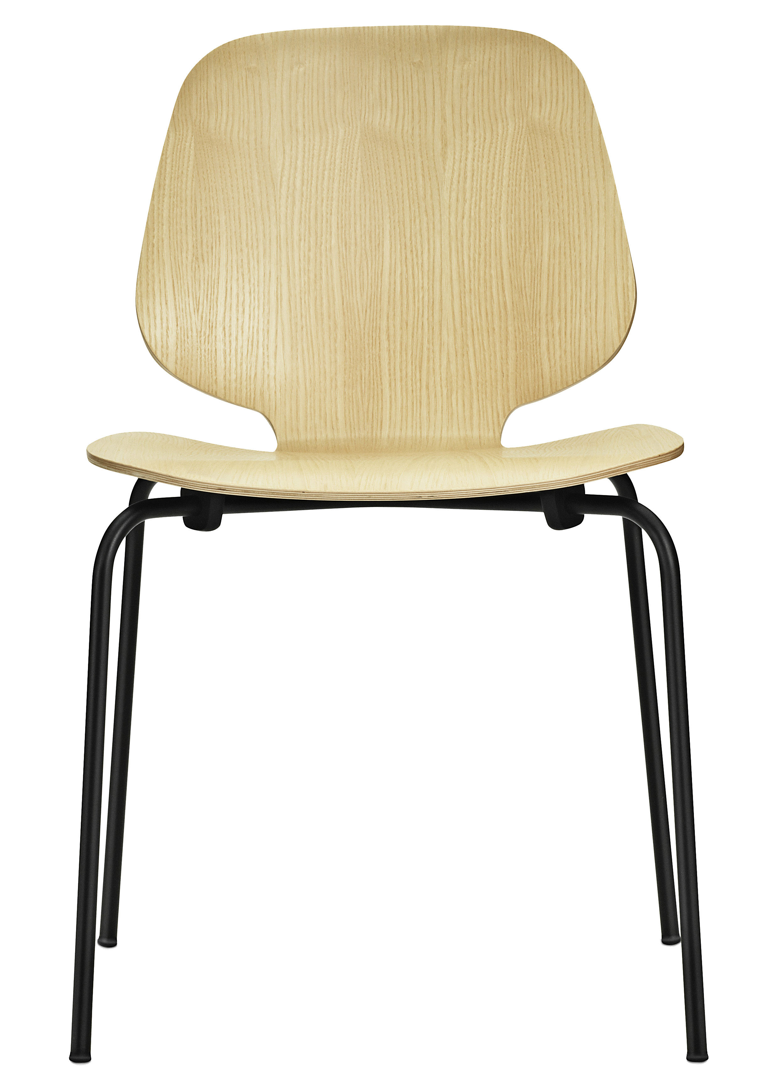 Furniture - Chairs - My Chair Stacking chair - Wood seat by Normann Copenhagen - Ash / Black legs - Ash veneer, Lacquered steel