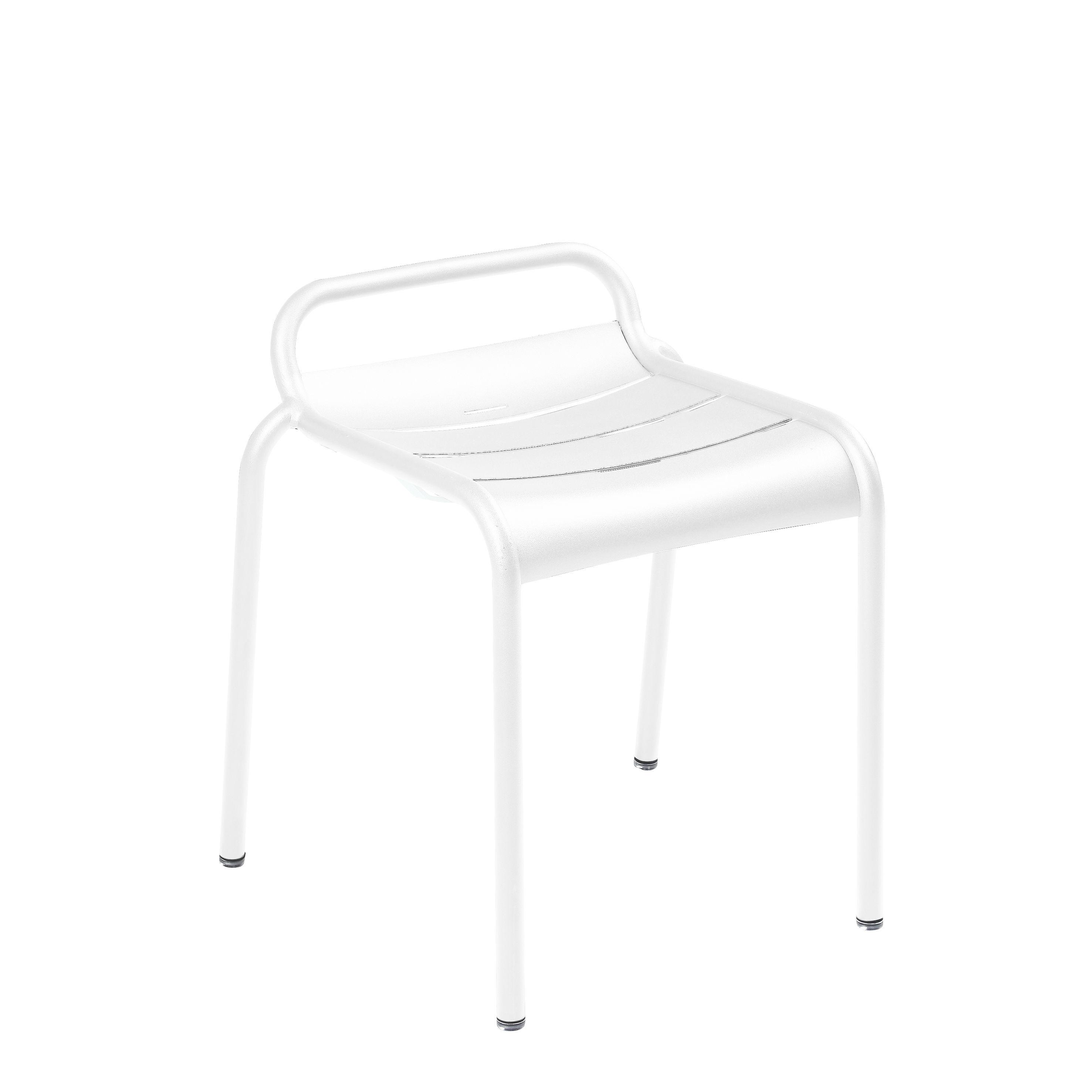 Möbel - Hocker - Luxembourg Stappelbarer Hocker / Aluminium - Fermob - Baumwollweiß - bemaltes Aluminium