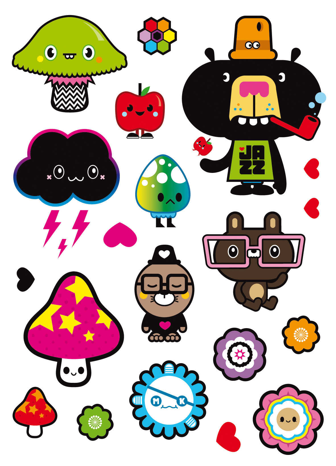 Interni - Per bambini - Sticker Adopt me - Set di 15 Mini stickers di Domestic - Grafismo firmato Tado - Vinile