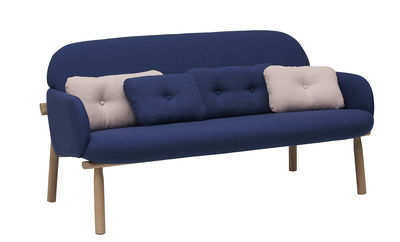 Furniture - Sofas - Georges Straight sofa - 2 places - L 146 cm by Hartô - Navy blue / Blue and pink cushions - Fabric, Foam, Solid oak