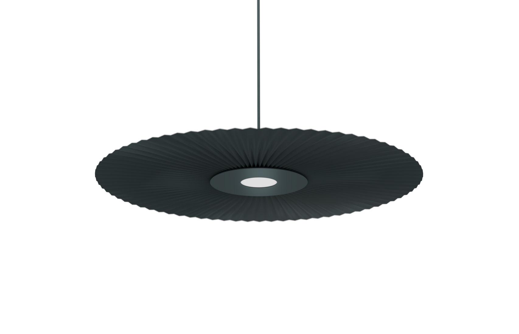 Luminaire - Suspensions - Suspension Carmen / LED - Ø 50 cm - Tissu plissé - Hartô - Gris ardoise - Métal laqué, Tissu plissé