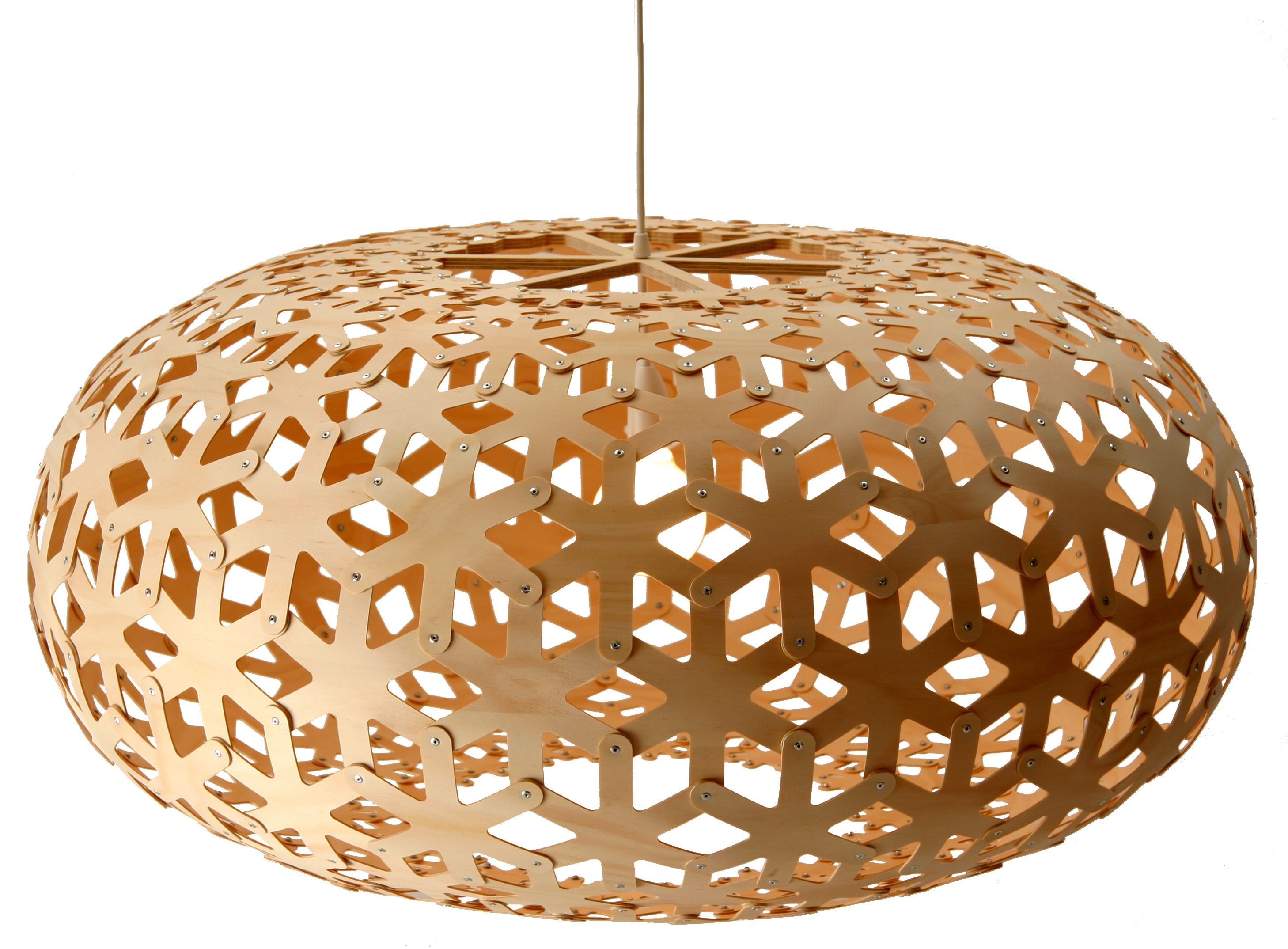Luminaire - Suspensions - Suspension Snowflake Ø 100 cm - David Trubridge - Bois naturel - Contreplaqué de pin
