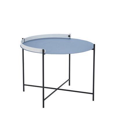 Table basse Edge / Poignée rabattable -Ø 62 x H 46 cm - Houe bleu en métal