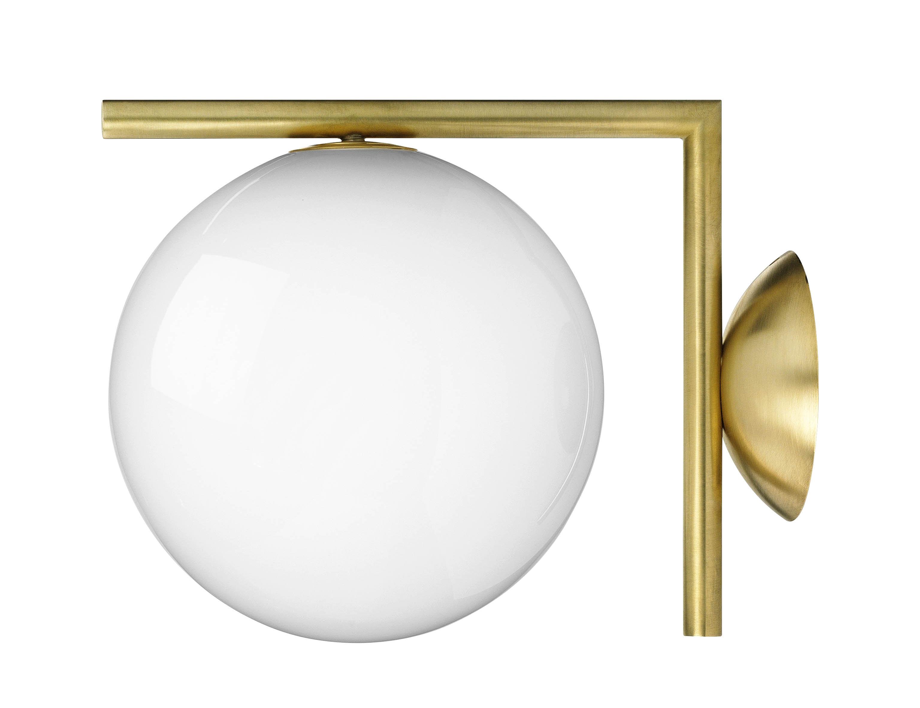 Leuchten - Wandleuchten - IC W1 Wandleuchte / Ø 20 cm - Flos - Messing - geblasenes Glas, Stahl