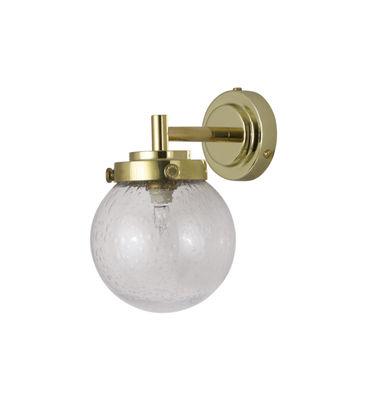 Mini Globe Wandleuchte / Ø 12 cm - mundgeblasenes Glas - Original BTC - Transparent,Messing