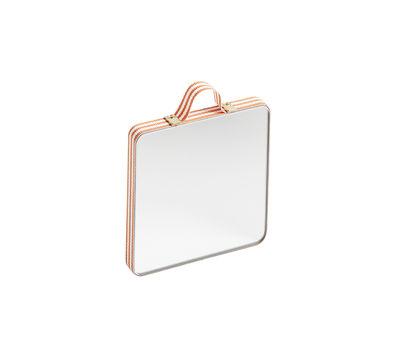 Dekoration - Spiegel - Ruban XS Wandspiegel / 8,5 x 8,5 cm - Hay - Orangefarbene Streifen - Eichenholzfurnier, Glas, Messing, Polyester-Gewebe