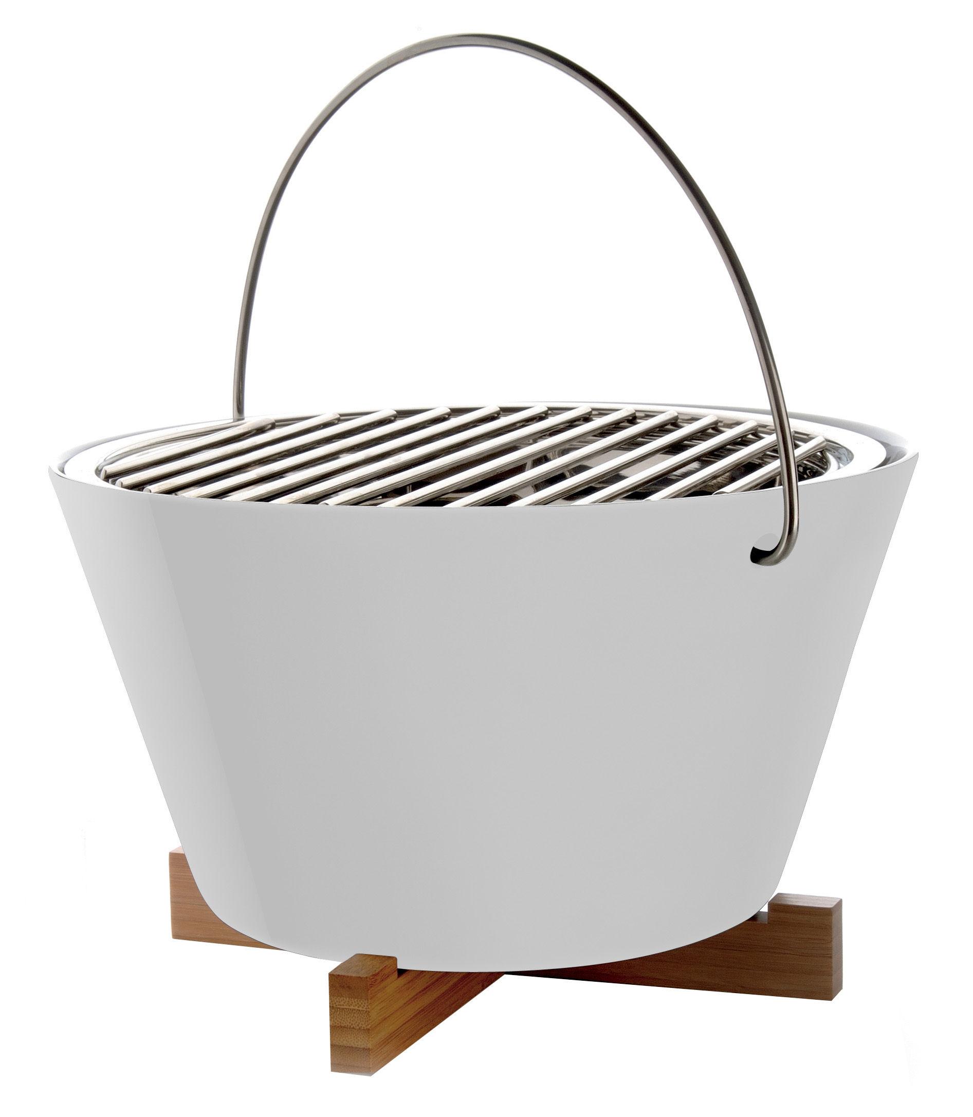 Jardin - Barbecues et braséros - Barbecue portable à charbon / Ø 30 x H 20 cm - Eva Solo - Blanc - Acier inoxydable, Bois, Porcelaine