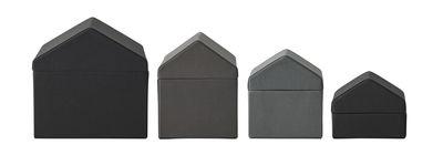 Boîte Traditional Houses / Set de 4 - Tissu - Fait main au Népal - Menu gris en tissu