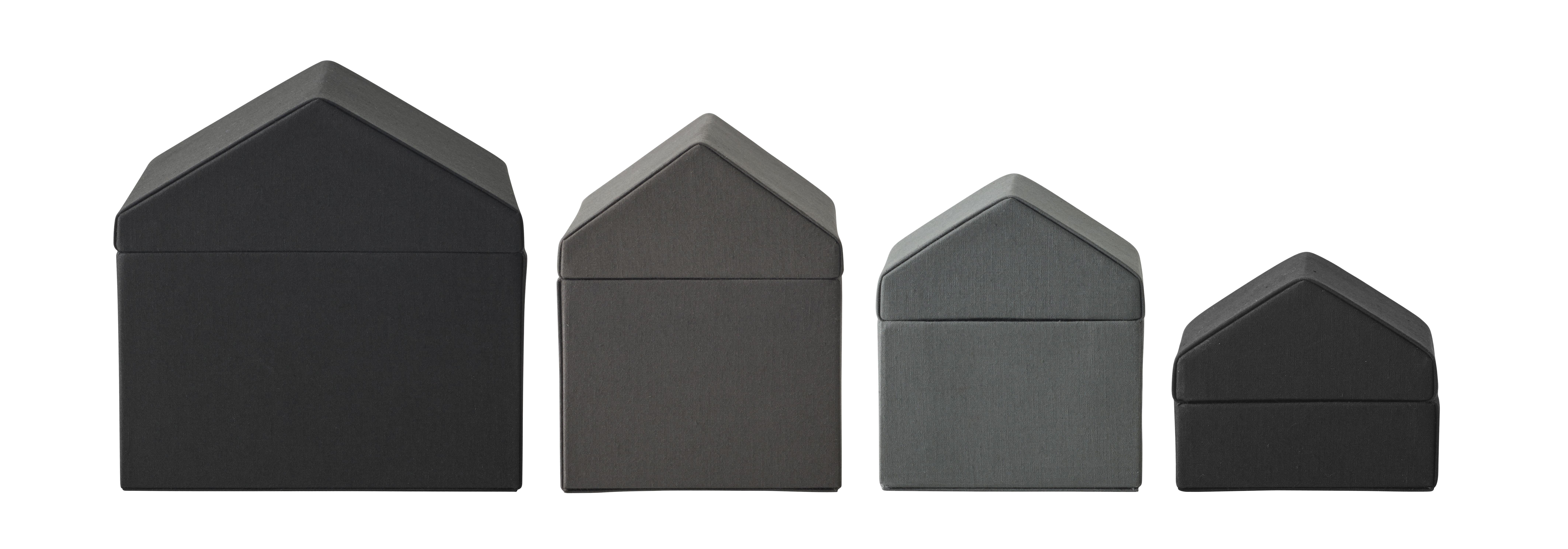 Déco - Boîtes déco - Boîte Traditional Houses / Set de 4 - Tissu - Fait main au Népal - Menu - Gris - Carton, Coton
