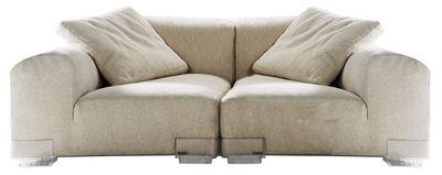 Canapé droit Plastics Duo / composition 1 - L 176 cm - Kartell ecru en tissu