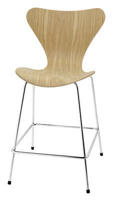 Chaise de bar Série 7 / H 76 cm - Bois naturel - Fritz Hansen chêne en bois