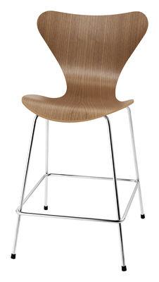 Chaise de bar Série 7 / H 76 cm - Bois naturel - Fritz Hansen noyer en bois