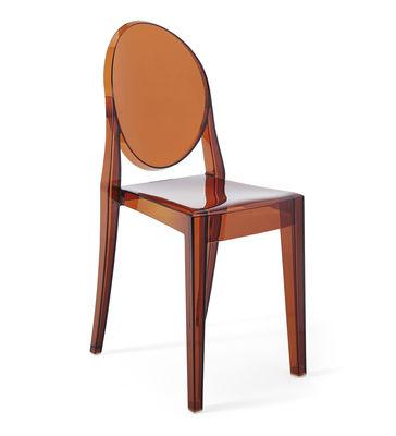 Mobilier - Chaises, fauteuils de salle à manger - Chaise empilable Victoria Ghost / Polycarbonate 2.0 - Kartell - Ambre - Polycarbonate 2.0