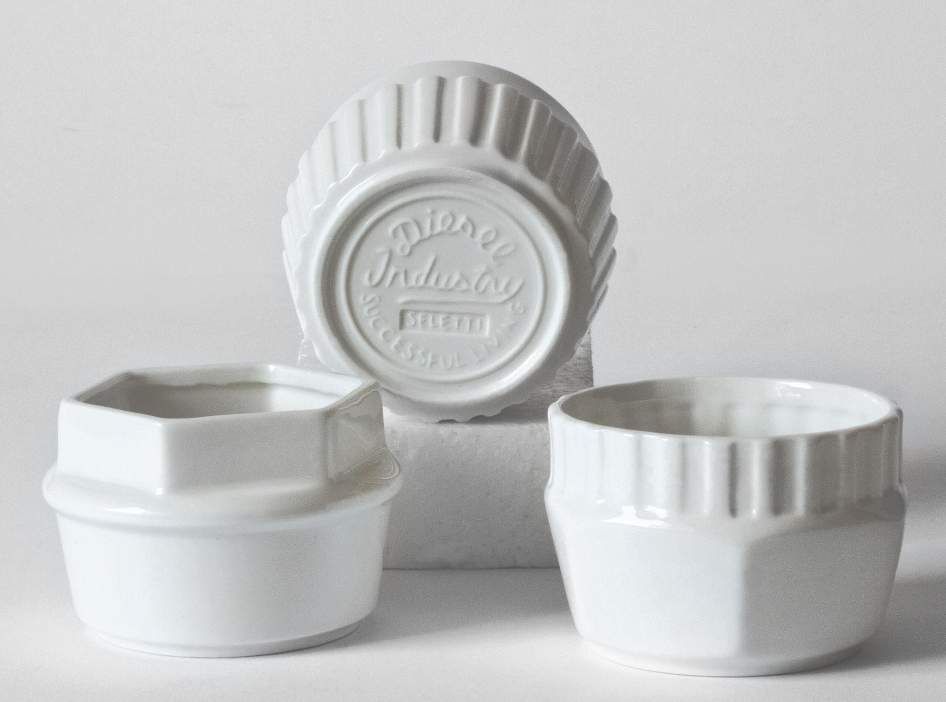 Tavola - Tazze e Boccali - Coppetta Machine Collection - / Coppette - Set da 3 di Diesel living with Seletti - Bianco - Porcellana