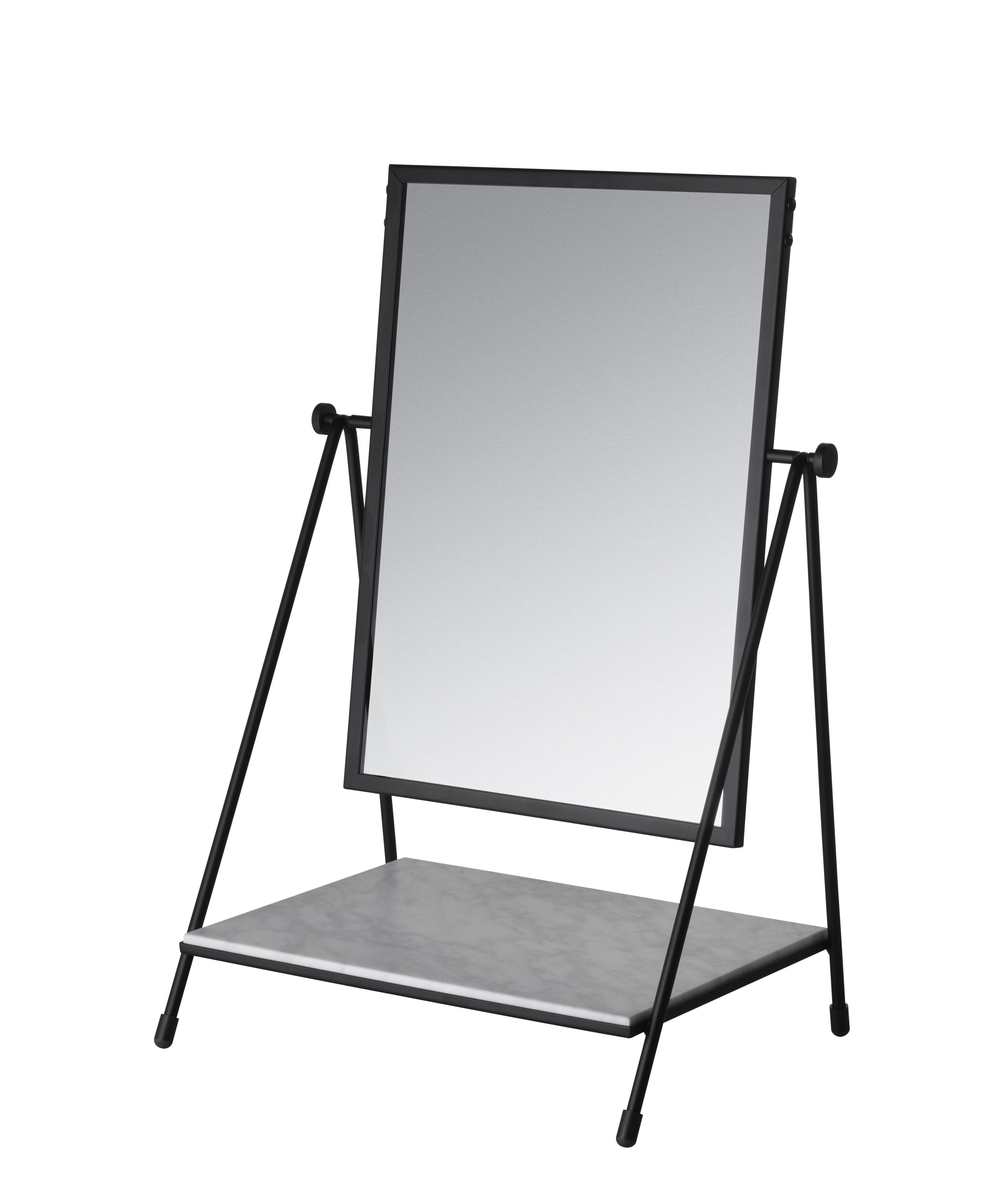 Decoration - Mirrors - Table Mirror Free standing mirrors - / 50s reissue - Marble & steel by Fritz Hansen - Black / White marble - Glass, Marble, Painted steel