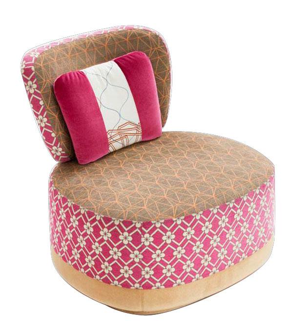 Möbel - Außergewöhnliche Möbel - Sushi - Juju Gepolsterter Sessel - Moroso - Rosa - Textil