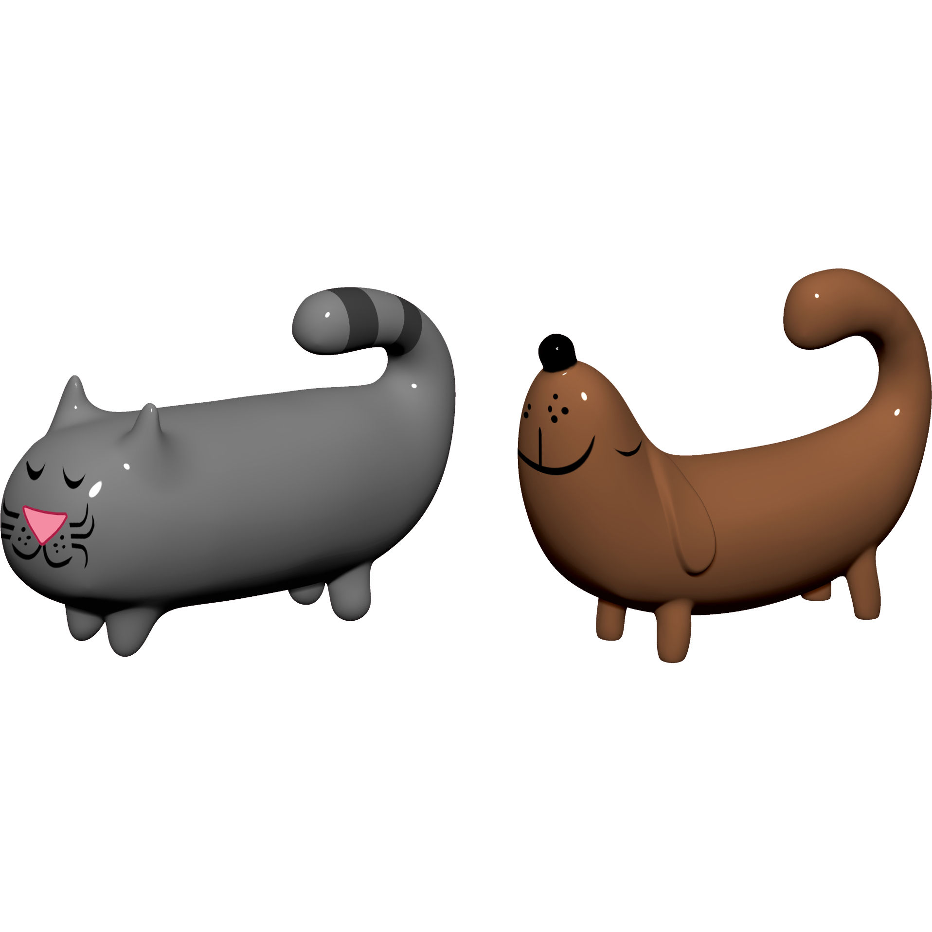 Dekoration - Dekorationsartikel - Ciccio & Melone Krippenfigur / 2 Figuren - Hund und Katze - A di Alessi - Grau & braun - Porzellan