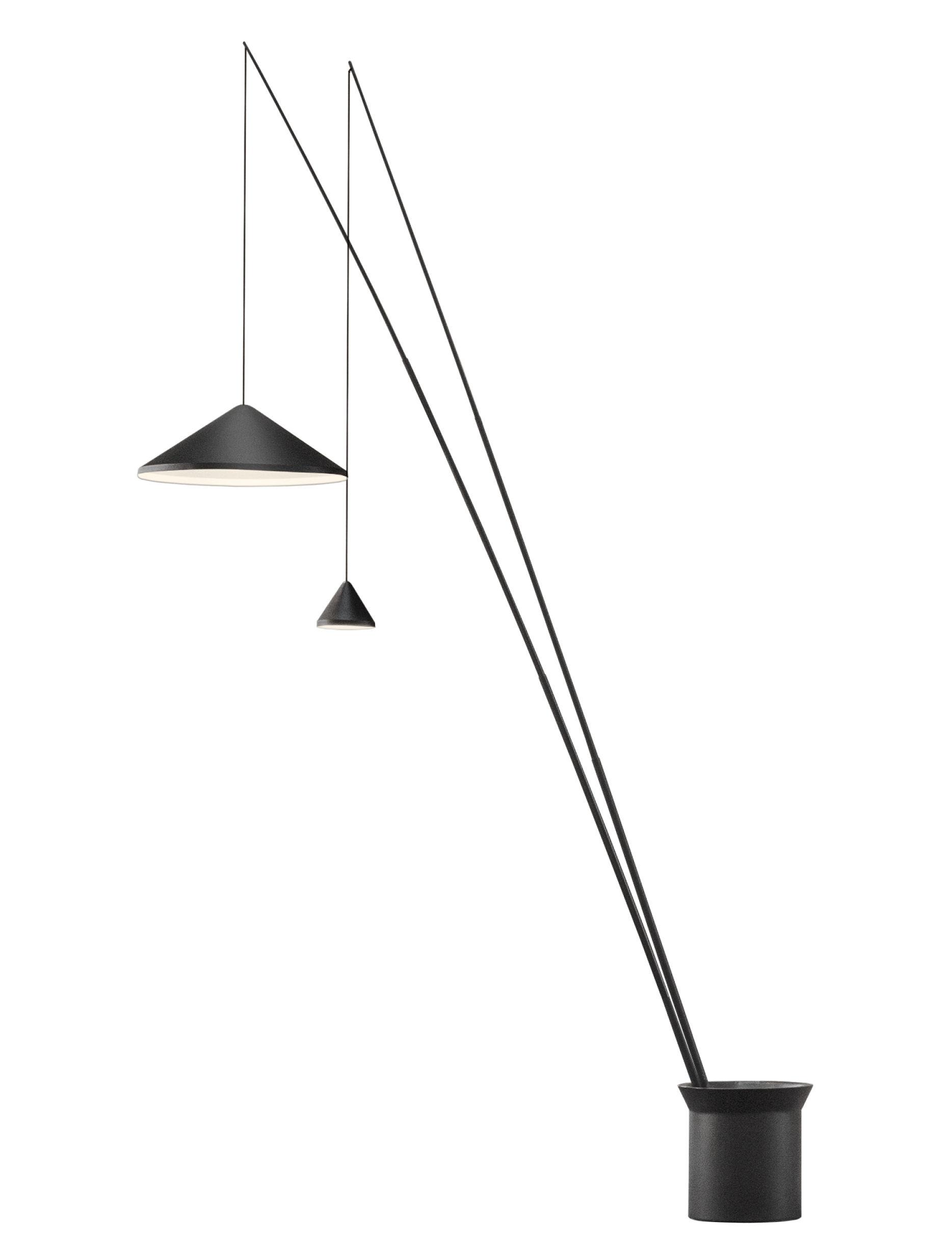 Illuminazione - Lampade da terra - Lampada a stelo North LED - / 2 paralumi regolabili - Ø 60 + Ø 16 cm di Vibia - Ø 60 cm + Ø 16 cm / Grafite opaco - Acciaio, Alluminio, Fibra di carbonio