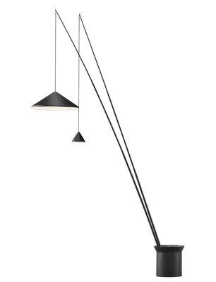 Luminaire - Lampadaires - Lampadaire North LED / 2 abat-jours réglables - Ø 60 + Ø 16 cm - Vibia - Ø 60 cm + Ø 16 cm / Graphite mat - Acier, Aluminium, Fibre de carbone
