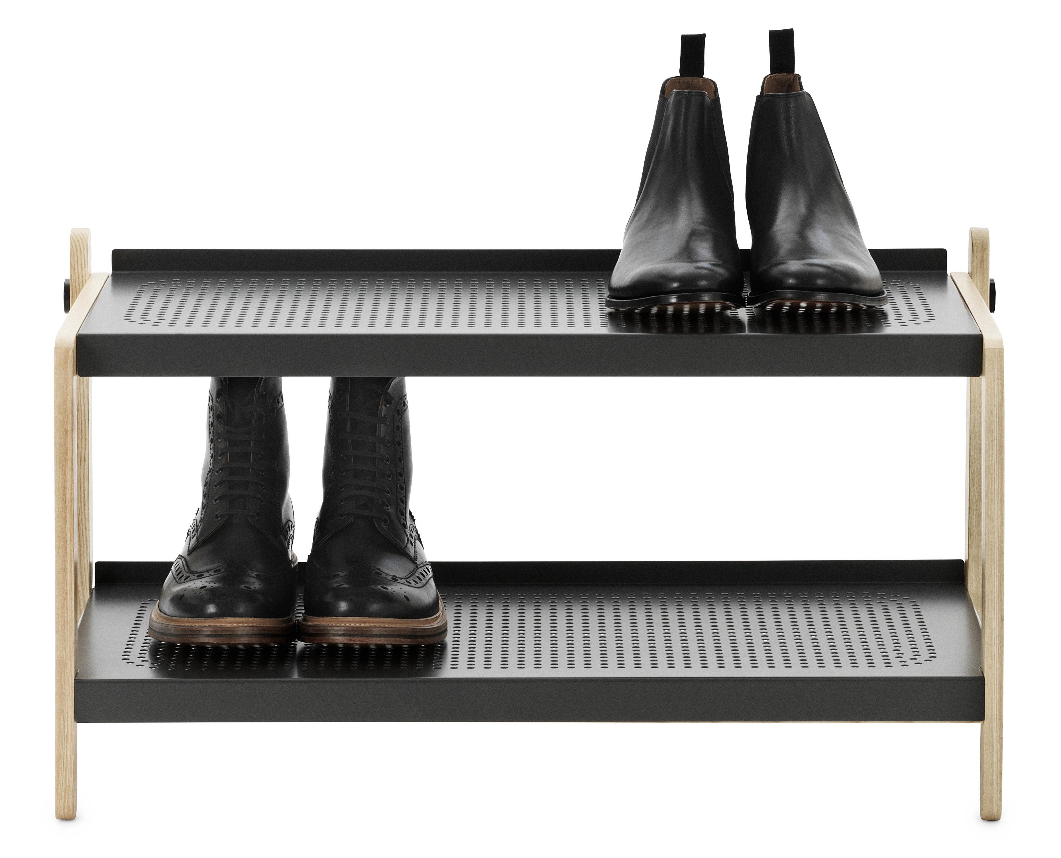 Mobilier - Meubles de rangement - Meuble à chaussures Sko - Normann Copenhagen - Gris - Acier peint, Frêne