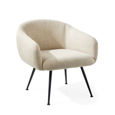 Furniture - Armchairs - Buddy Padded armchair - Bottom / Fabric & metal by Pols Potten - Beige - Foam, Metal, Polyester fabric