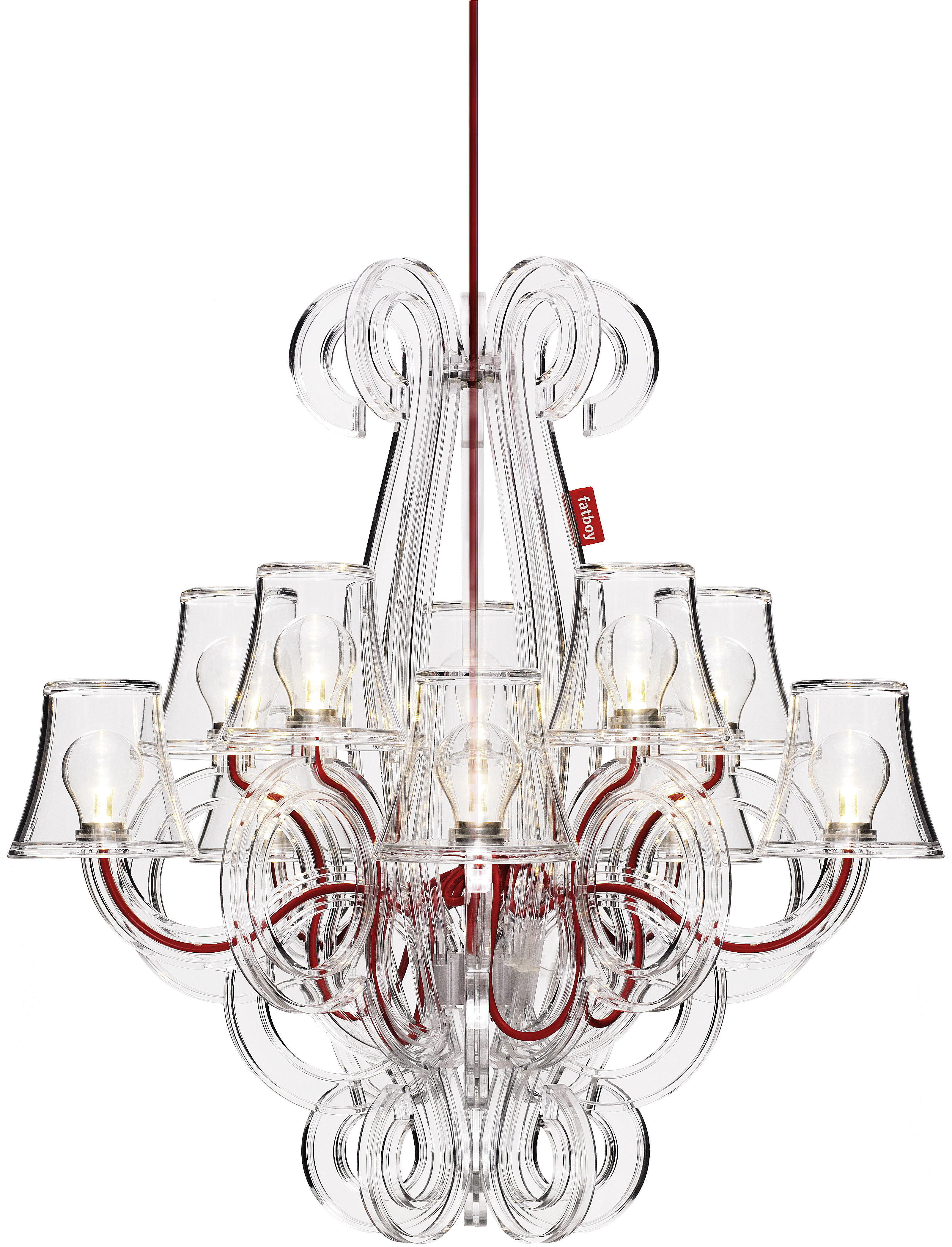 Lighting - Pendant Lighting - RockCoco Chandelier by Fatboy - Transparent - Red - Polycarbonate