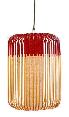 Bamboo Light L Pendelleuchte / H 50 cm x Ø 35 cm - Forestier - Rot,Bambus Natur
