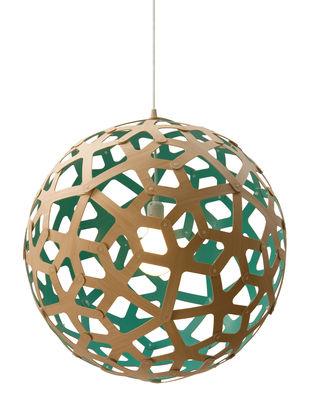 Leuchten - Pendelleuchten - Coral Pendelleuchte Ø 40 cm - zweifarbig - exklusiv - David Trubridge - Wassergrün / Naturholz - Kiefer