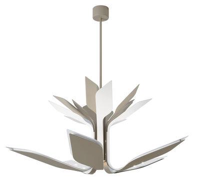 Foliage S5 Pendelleuchte / LED - 5 verstellbare Arme - Ø 110 cm - Lumen Center Italia - Weiß mattiert,Sandgrau