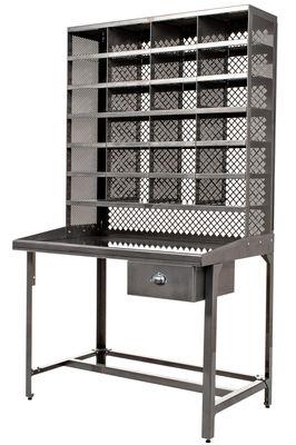 Möbel - Büromöbel - Schreibtisch Sortierregal / Staumöbel - Tolix - Rohstahl - Acier brut verni brillant