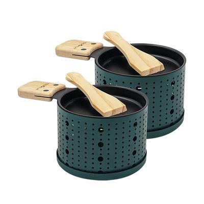 Cuisine - Ustensiles de cuisines - Set Lumi / Pour raclette à la bougie - 2 personnes - Cookut - Vert - Acier, Bois