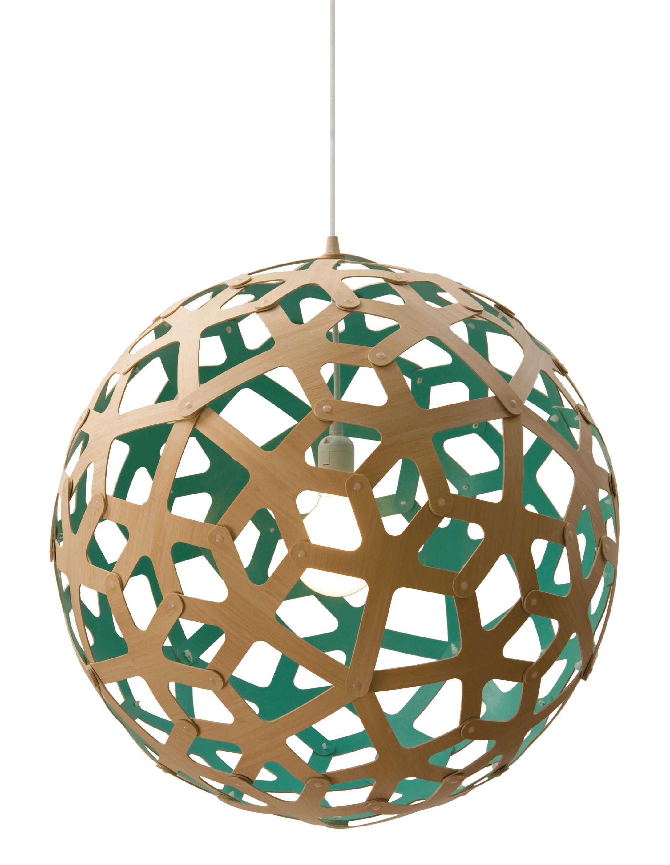 Luminaire - Suspensions - Suspension Coral / Ø 40 cm - Bicolore vert d'eau & bois - David Trubridge - Vert d'eau / bois naturel - Pin