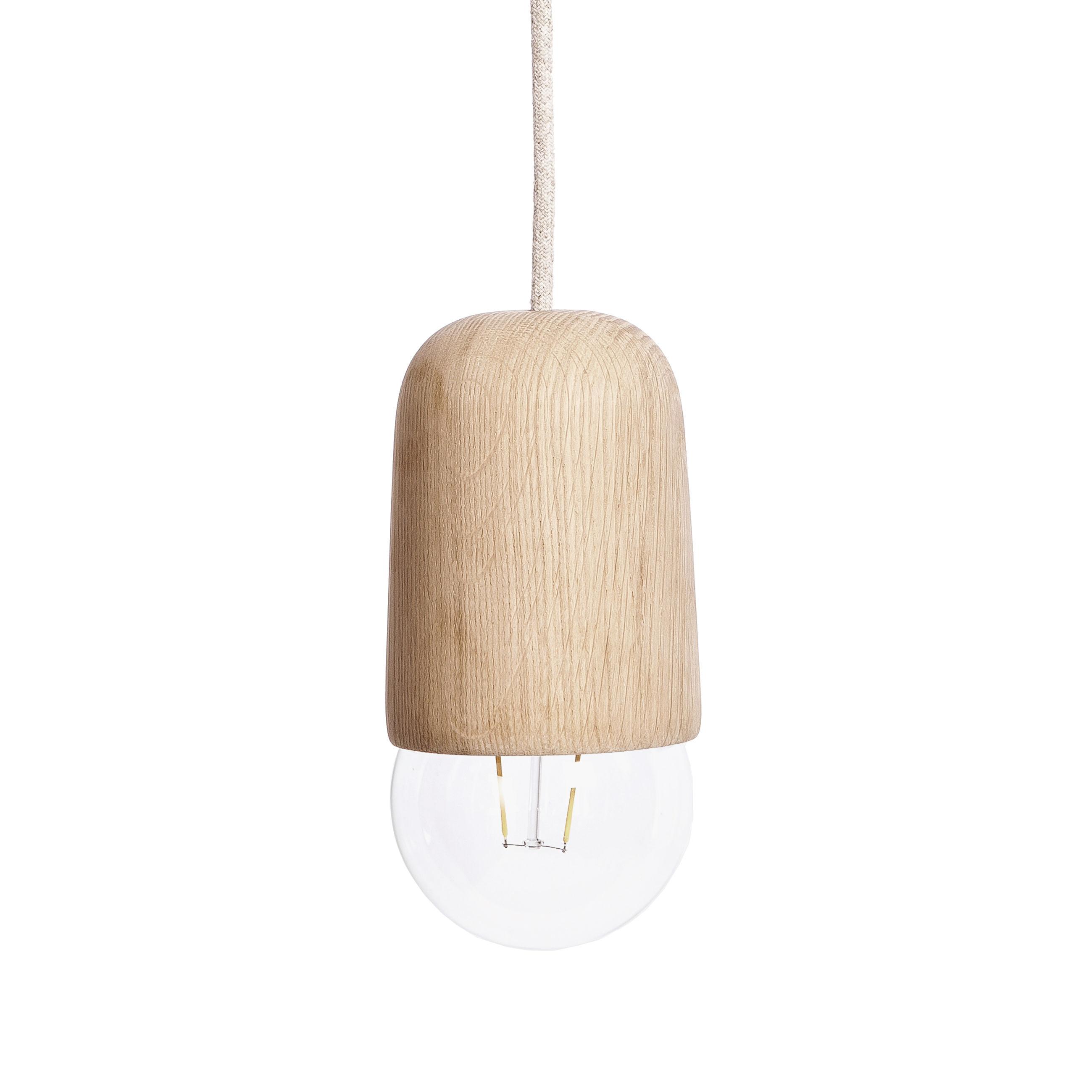 Luminaire - Suspensions - Suspension Luce Medium / Chêne - Ø 10 x H 18 cm - Hartô - Medium / Chêne - Chêne massif