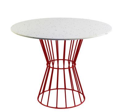Table ronde Confetti 120 / Terrazzo & métal grillagé - Houtique blanc,rouge en métal