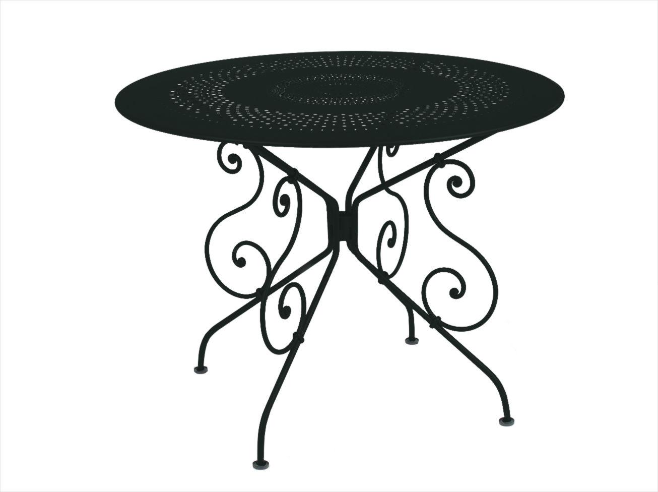 Outdoor - Tavoli  - Tavolo rotondo 1900 - Ø 96 cm - Con foro per ombrellone di Fermob - Liquerizia - Acciaio