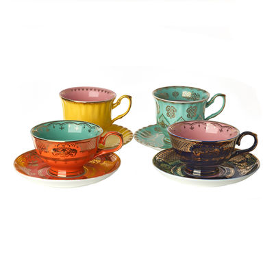 Tableware - Coffee Mugs & Tea Cups - Grandpa Teacup - / Set of 4 - With saucers by Pols Potten - Multicoloured - Enamelled china