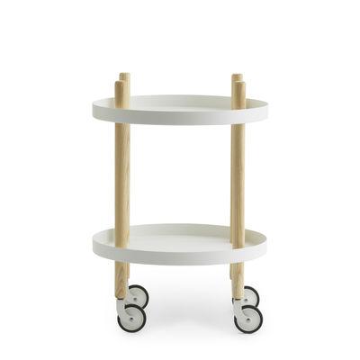 Möbel - Beistell-Möbel - Block Ablage / Ø 45 cm - Normann Copenhagen - Weiß - Esche, Stahl