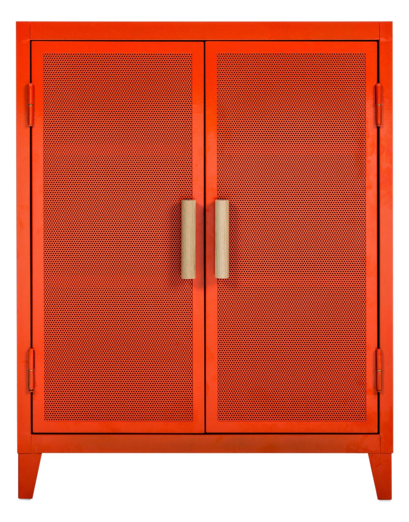 Möbel - Aufbewahrungsmöbel - Vestiaire bas Perforé Ablage niedriger Kleiderschrank / Lochblech & Eichenholz - Tolix - Kürbis / Griffe Eiche - Lackierter recycelter Stahl, massive Eiche