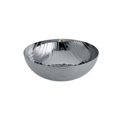 Tableware - Fruit Bowls & Centrepieces - Veneer Bowl - / Ø 21 cm - Steel with embossed patterns by Alessi - Polished steel - Stainless steel